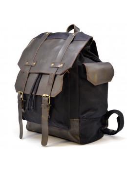 Чорний міської рюкзак з оздобленням з шкіри і тканини TARWA RAc-6680-4lx