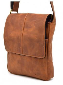 Молодёжная кожаная сумка рыжего цвета TARWA RB-1301-3md