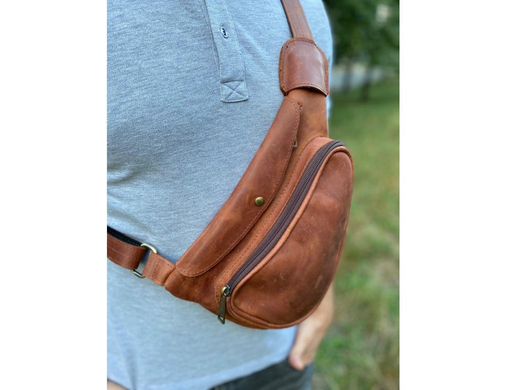 Рыжая кожаная сумка слинг Tarwa rb-3026-3md - Фото № 2