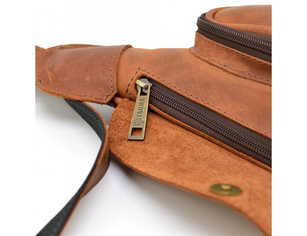Рыжая кожаная сумка слинг Tarwa rb-3026-3md - Фото № 3