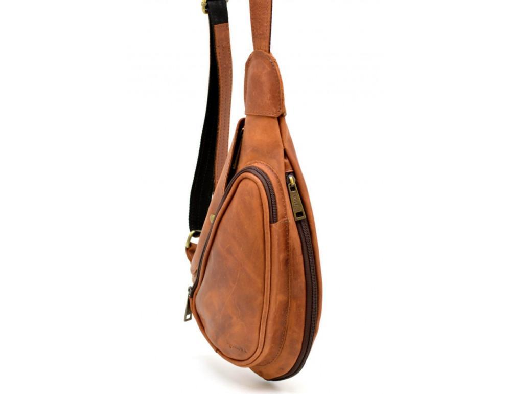 Рыжая кожаная сумка слинг Tarwa rb-3026-3md - Фото № 4