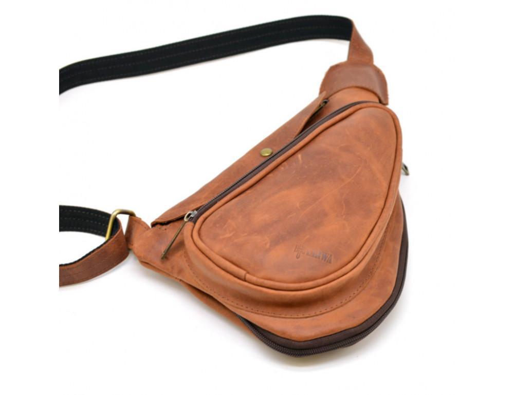 Рыжая кожаная сумка слинг Tarwa rb-3026-3md - Фото № 7