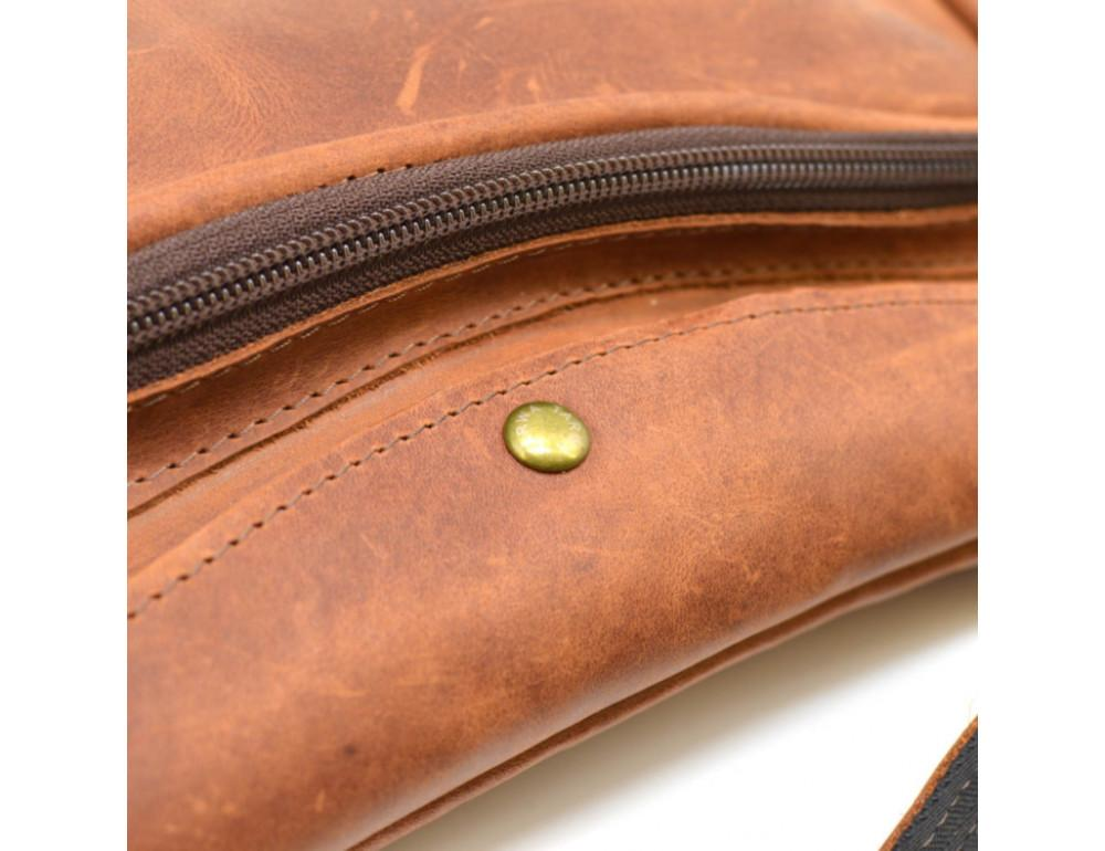 Рыжая кожаная сумка слинг Tarwa rb-3026-3md - Фото № 8