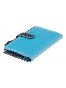 Голубой кожаный кошелёк Visconti RB100 BLUE M Bermuda c RFID