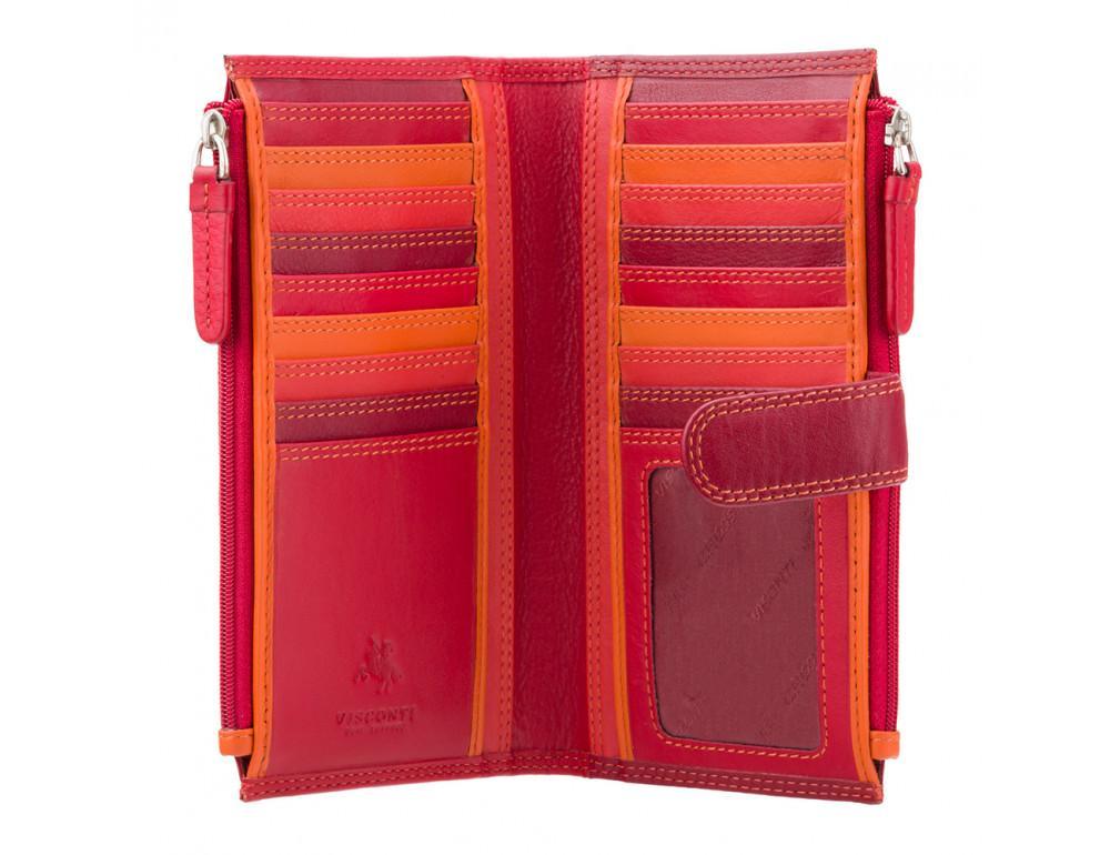 Красный женский кошелёк из натуральной кожи Visconti RB100 RED M Bermuda c RFID - Фото № 2