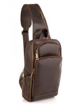 Коричневая кожаная сумка слинг Tarwa RC-0910-4lx