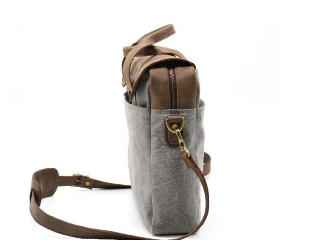 Стильная мужская кожаная сумка TARWA RC-1812-4lx коричневая с серым - Фото № 4