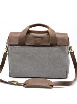 Стильна чоловіча шкіряна сумка TARWA RC-1812-4lx коричнева з сірим