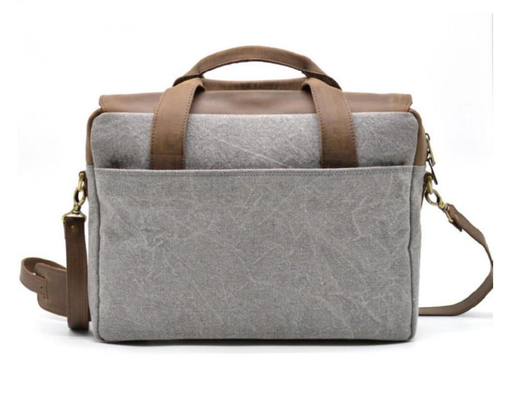 Стильная мужская кожаная сумка TARWA RC-1812-4lx коричневая с серым - Фото № 5