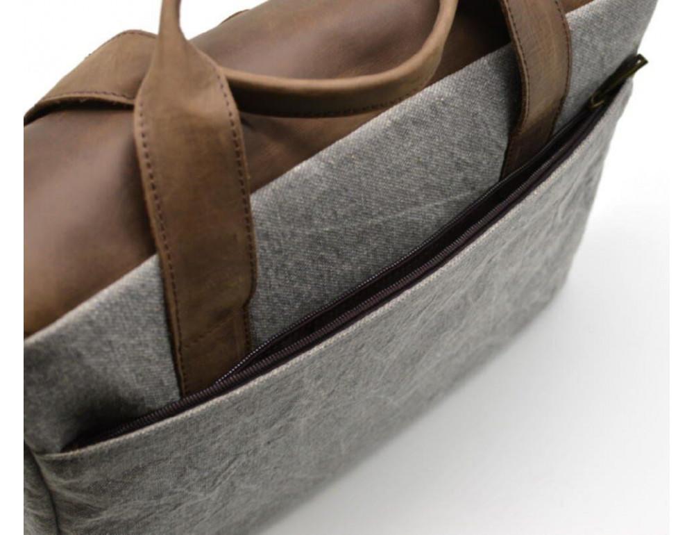 Стильная мужская кожаная сумка TARWA RC-1812-4lx коричневая с серым - Фото № 6