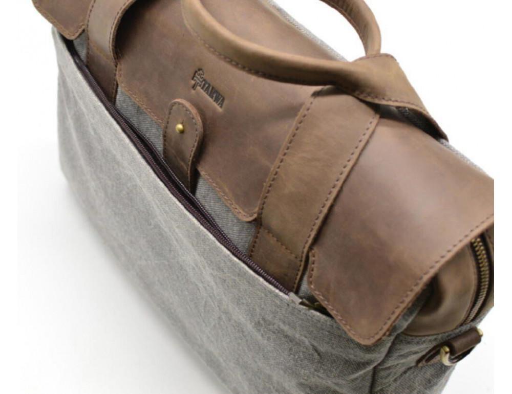 Стильная мужская кожаная сумка TARWA RC-1812-4lx коричневая с серым - Фото № 7