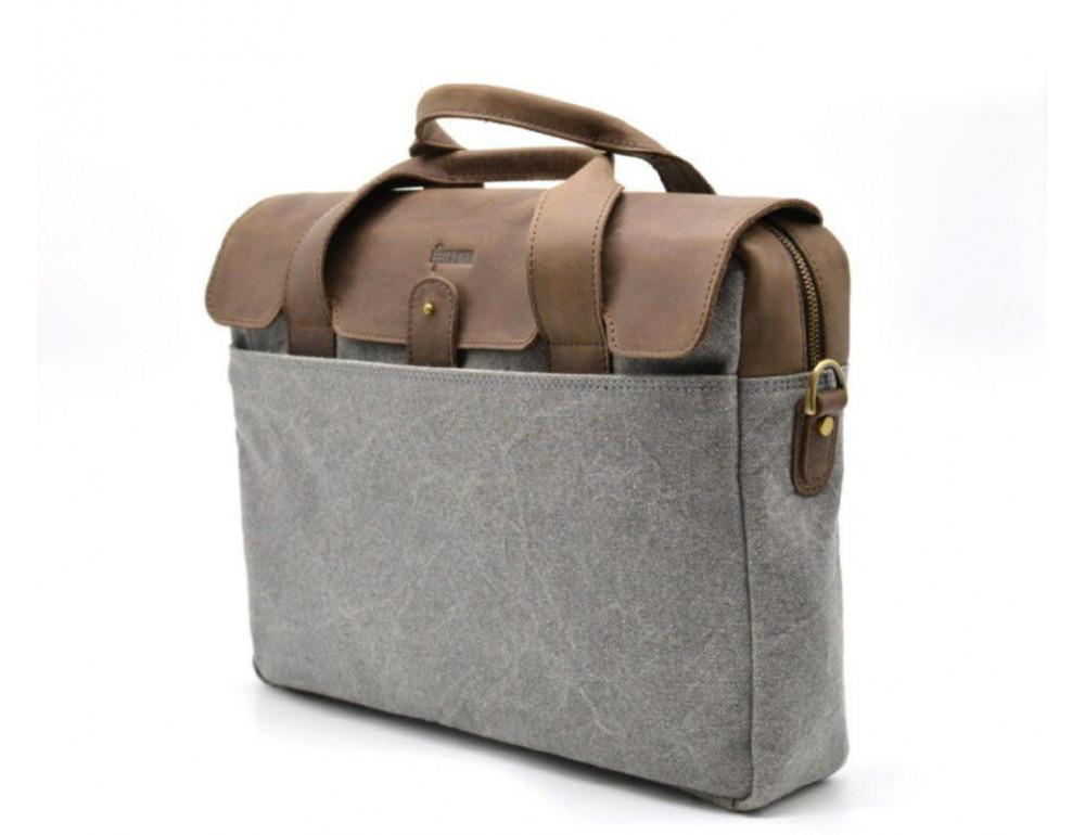 Стильная мужская кожаная сумка TARWA RC-1812-4lx коричневая с серым - Фото № 8