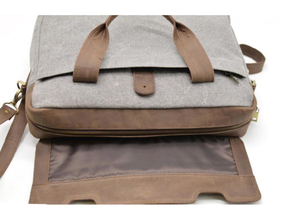 Стильная мужская кожаная сумка TARWA RC-1812-4lx коричневая с серым - Фото № 9