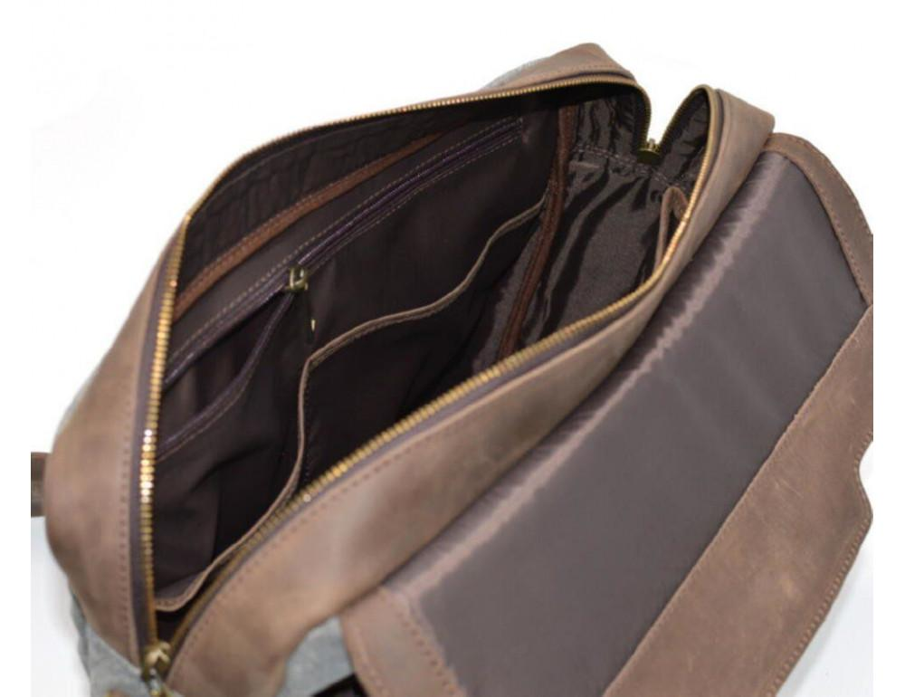 Стильная мужская кожаная сумка TARWA RC-1812-4lx коричневая с серым - Фото № 10