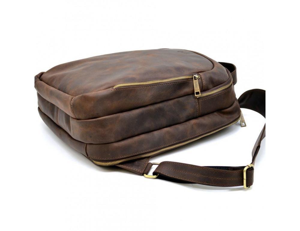 Коричневый городской рюкзак из лошадиной кожи TARWA RC-3072-3md - Фото № 6