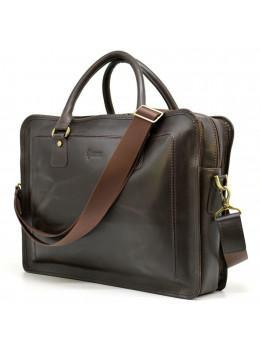 Коричнева шкіряна сумка на три відділення TARWA RC-4666-4lx