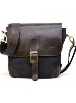 Чёрная мужская сумка из ткани и кожи TARWA RG-1309-4lx