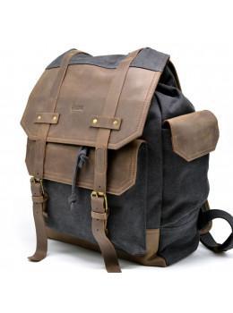 Сірий міської рюкзак з тканини і шкіри TARWA RG-6680-4lx
