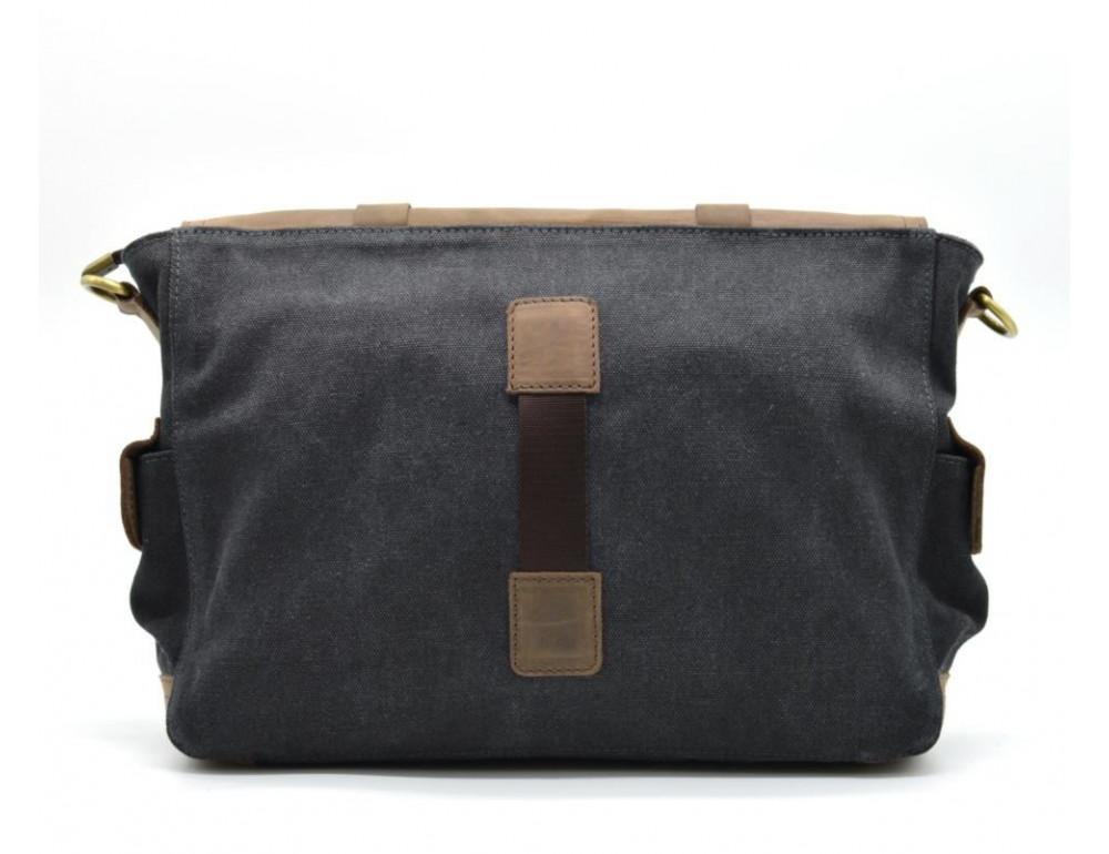 Чёрная тканевая сумка с кусками кожи Tarwa RG-6690-4lx - Фото № 2