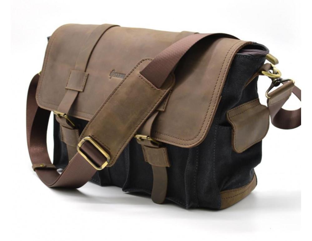 Чёрная тканевая сумка с кусками кожи Tarwa RG-6690-4lx - Фото № 1