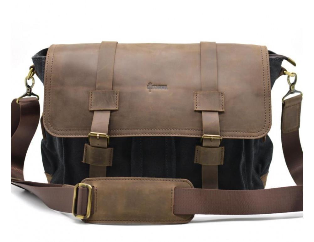 Чёрная тканевая сумка с кусками кожи Tarwa RG-6690-4lx - Фото № 3