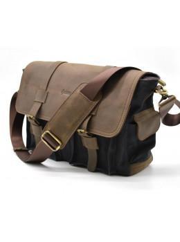 Чорна тканинна сумка з шматками шкіри Tarwa RG-6690-4lx