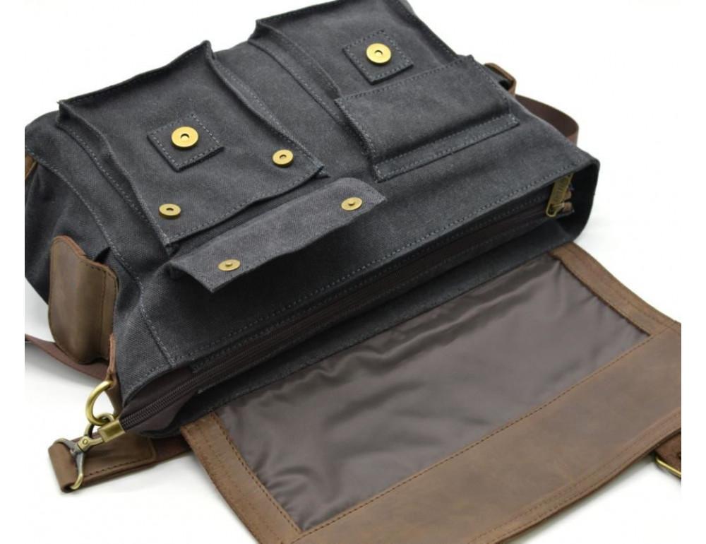 Чёрная тканевая сумка с кусками кожи Tarwa RG-6690-4lx - Фото № 4