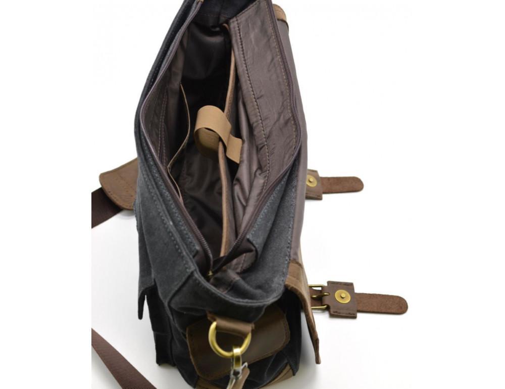 Чёрная тканевая сумка с кусками кожи Tarwa RG-6690-4lx - Фото № 5