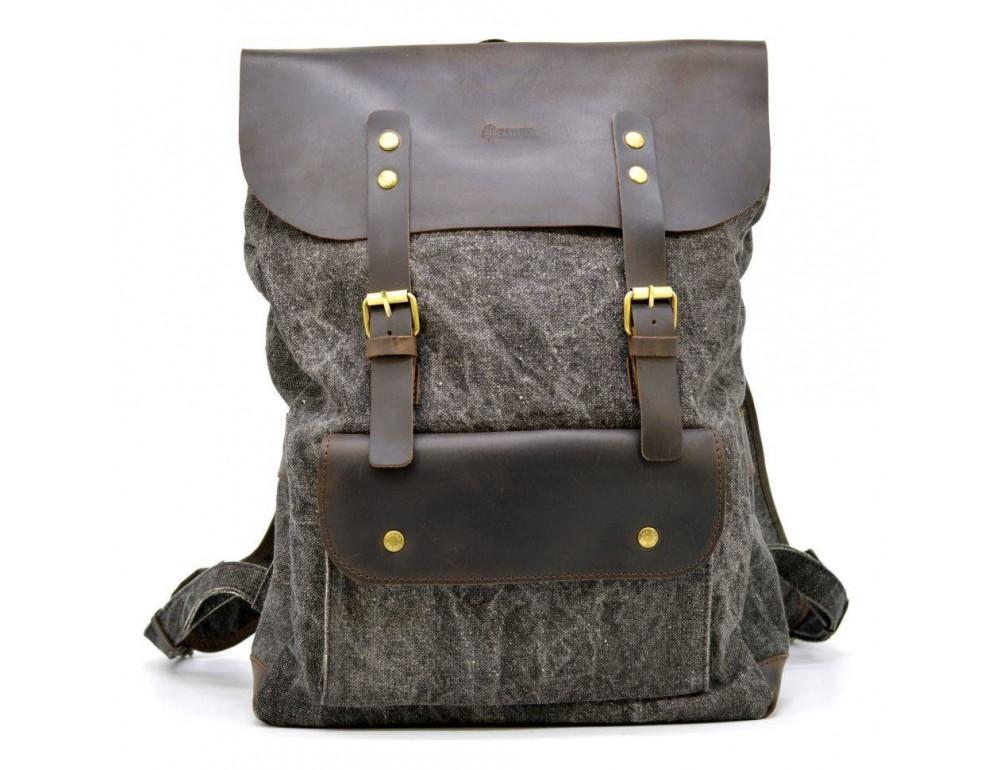 Серый рюкзак кожа + канва TARWA RGj-9001-4lx - Фото № 2