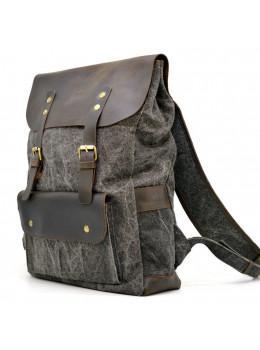 Серый рюкзак кожа + канва TARWA RGj-9001-4lx