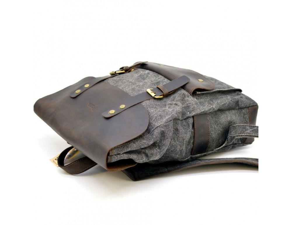 Серый рюкзак кожа + канва TARWA RGj-9001-4lx - Фото № 5