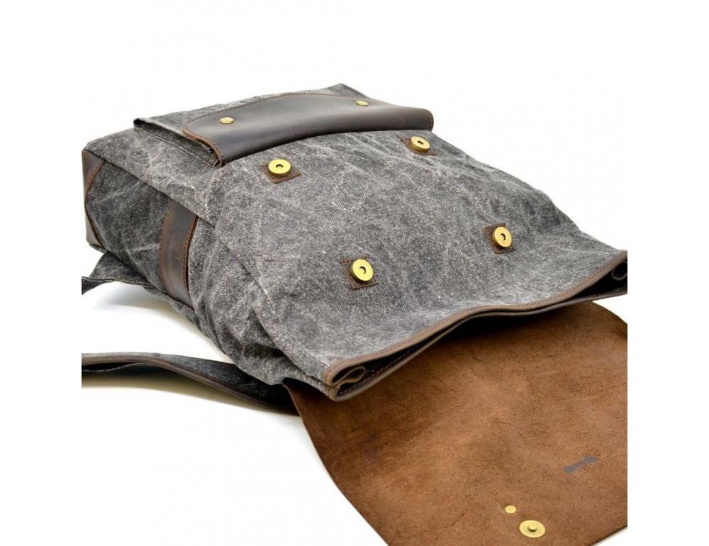 Серый рюкзак кожа + канва TARWA RGj-9001-4lx - Фото № 7
