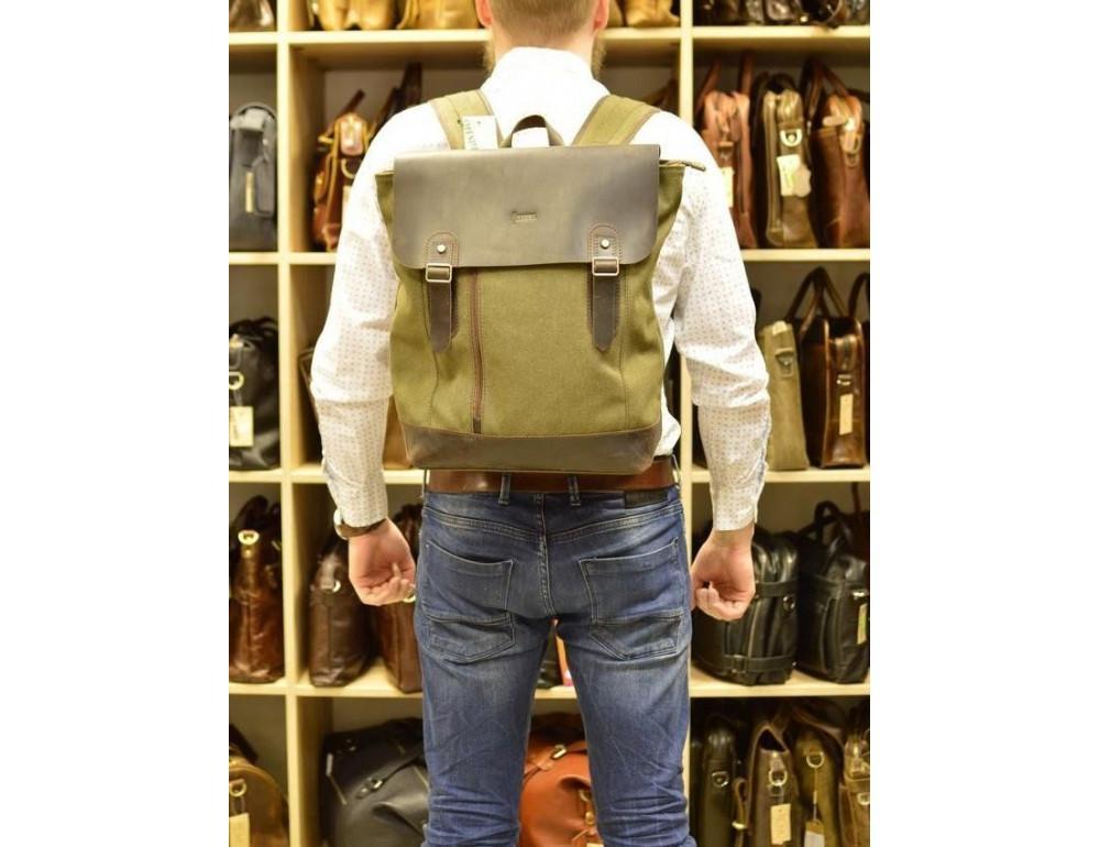 Мужской городской рюкзак TARWA RH-3880-3md хаки с коричневым - Фото № 2