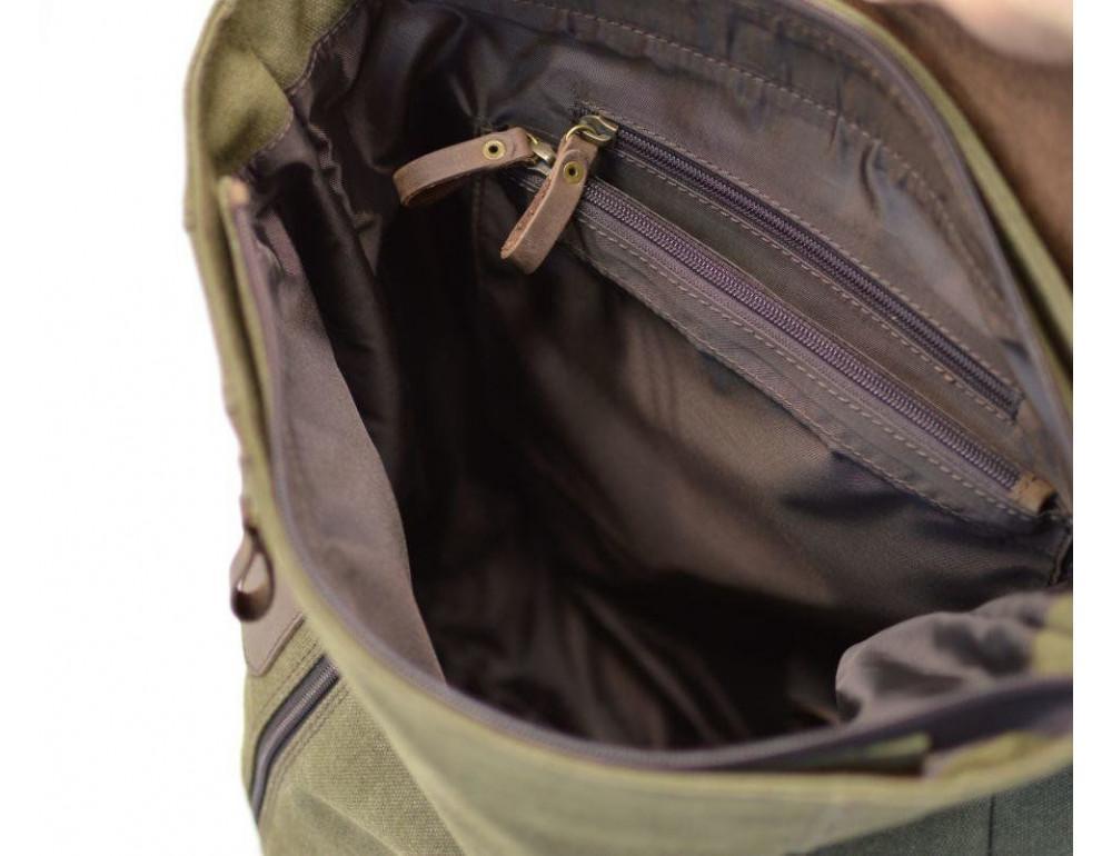 Мужской городской рюкзак TARWA RH-3880-3md хаки с коричневым - Фото № 6