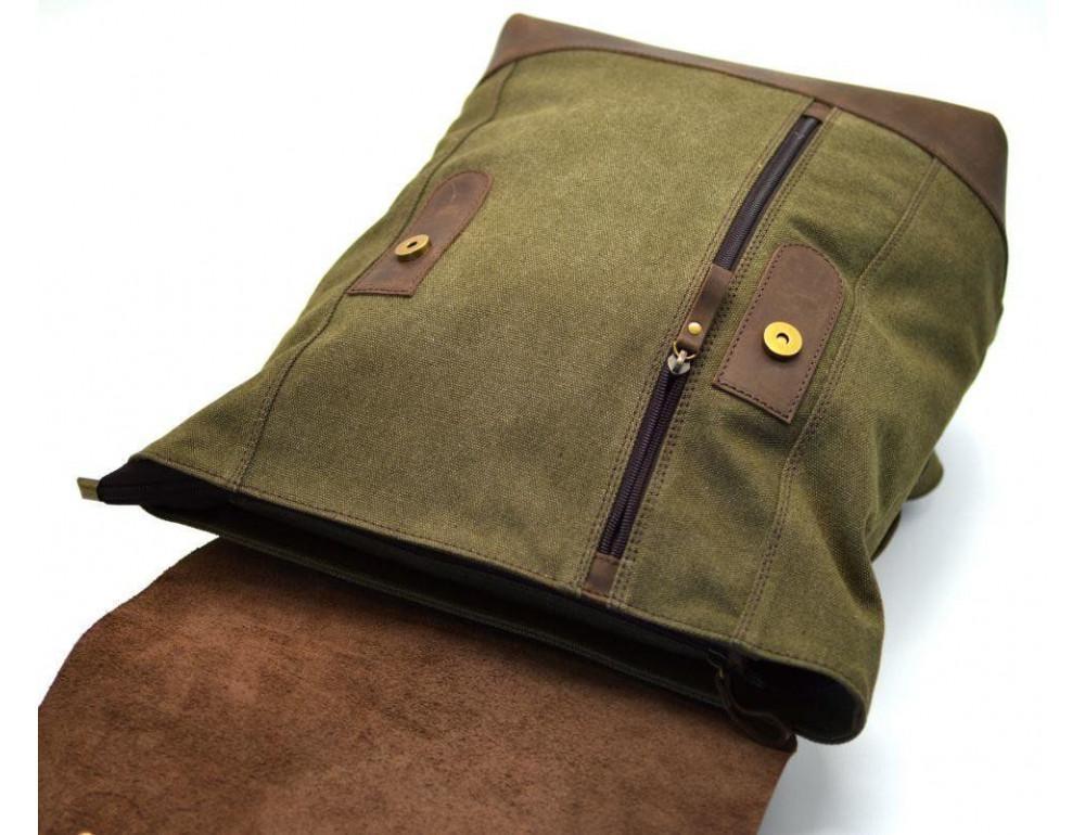 Мужской городской рюкзак TARWA RH-3880-3md хаки с коричневым - Фото № 7