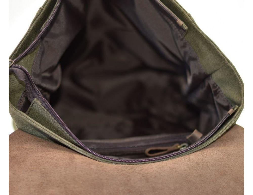 Мужской городской рюкзак TARWA RH-3880-3md хаки с коричневым - Фото № 8