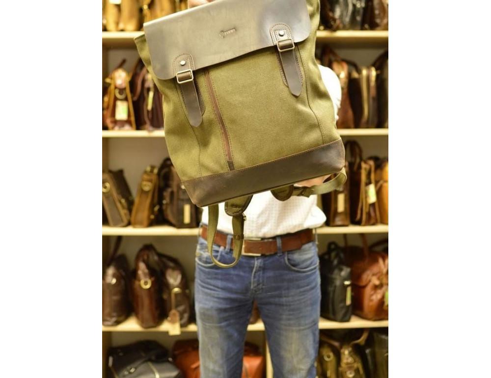 Мужской городской рюкзак TARWA RH-3880-3md хаки с коричневым - Фото № 9