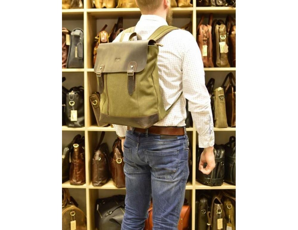 Мужской городской рюкзак TARWA RH-3880-3md хаки с коричневым - Фото № 10