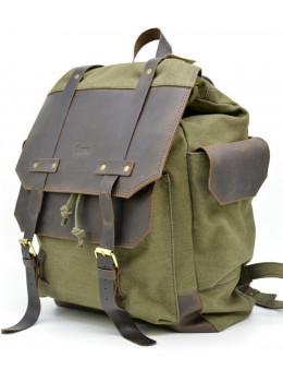 Міський рюкзак шкіра з тканиною хакі TARWA RН-6680-4lx