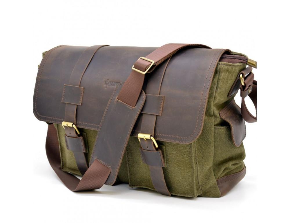 Зелёная сумка через плечо кожа с канвос Tarwa rh-6690-4lx - Фото № 1