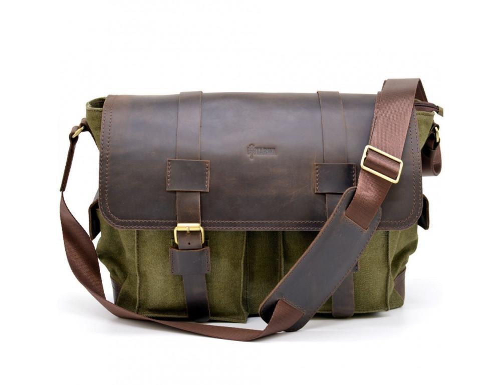 Зелёная сумка через плечо кожа с канвос Tarwa rh-6690-4lx - Фото № 3