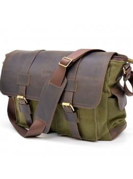 Зелена сумка через плече шкіра з канвос Tarwa rh-6690-4lx