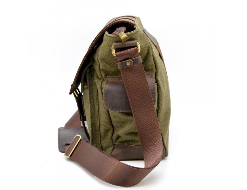 Зелёная сумка через плечо кожа с канвос Tarwa rh-6690-4lx - Фото № 4
