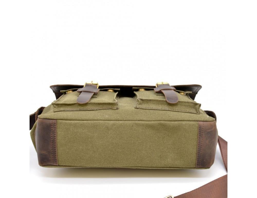 Зелёная сумка через плечо кожа с канвос Tarwa rh-6690-4lx - Фото № 5