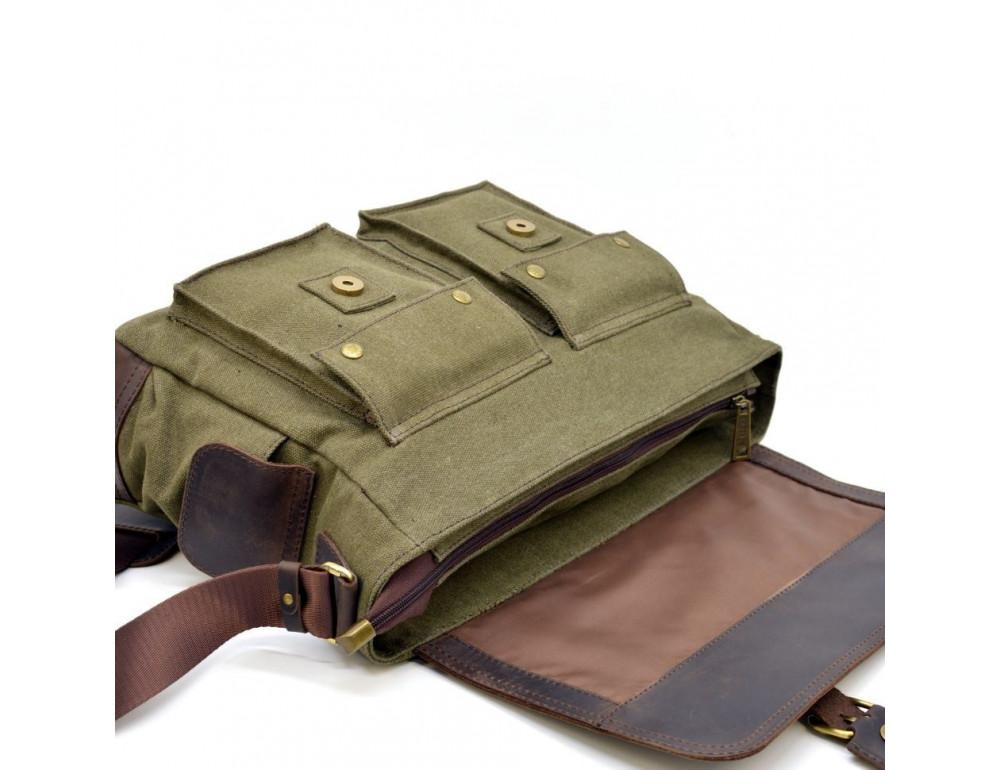 Зелёная сумка через плечо кожа с канвос Tarwa rh-6690-4lx - Фото № 6