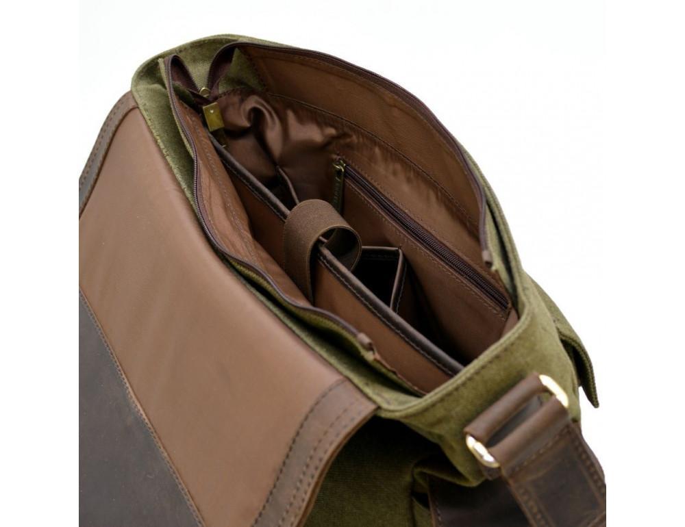 Зелёная сумка через плечо кожа с канвос Tarwa rh-6690-4lx - Фото № 7