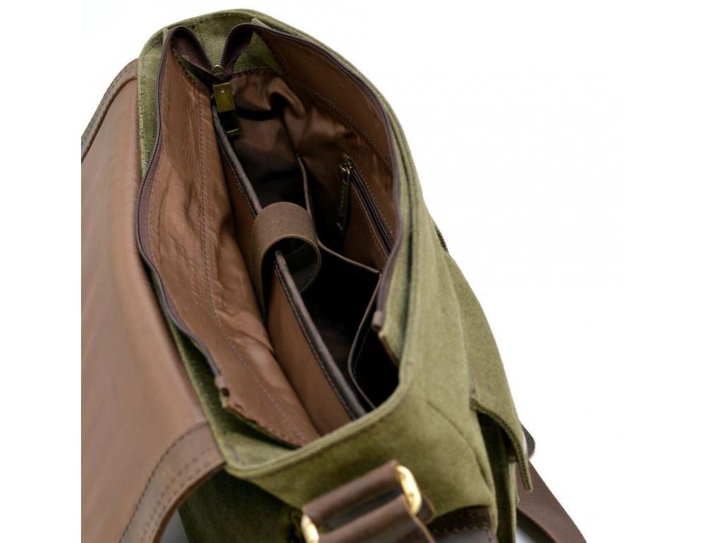 Зелёная сумка через плечо кожа с канвос Tarwa rh-6690-4lx - Фото № 8