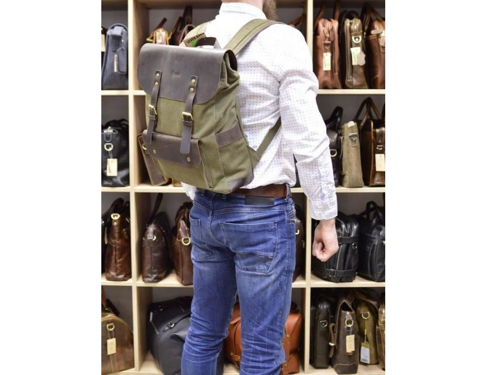 Молодёжный рюкзак кожа + канва TARWA RH-9001-4lx цвета хаки - Фото № 2