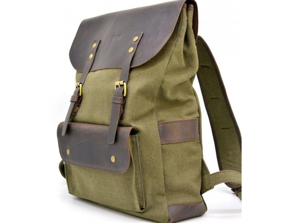 Молодёжный рюкзак кожа + канва TARWA RH-9001-4lx цвета хаки - Фото № 1