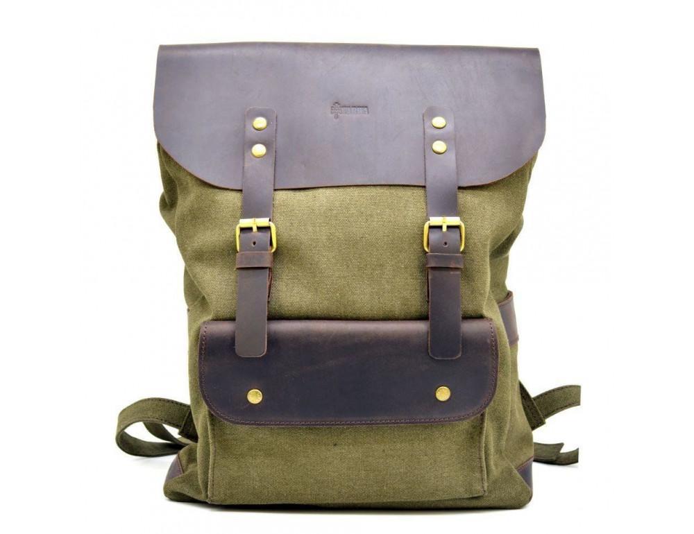 Молодёжный рюкзак кожа + канва TARWA RH-9001-4lx цвета хаки - Фото № 3